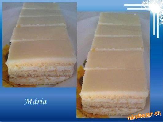 Citrónovo-tvarohové rezy... PIŠKÓTA: 8 vajec, 160 g prášk cukru, 160 g polohr múky, 1/2 vanil cukru, 2 Pl vlaž vody, strúh kôra z 1/2 citróna, na hrot noža PDP. PLNKA: 2,5 dl mlieka, 1 Zlatý klas, 60g kryšt cukru, 1/2 vanil cukru, 200g masla, 250g tvarohu, 100g prášk cukru, šťava z 1/2 citróna POLEVA: 100g rozpusten masla, 300g prášk cukru, 5 PL citrón šťavy-sneh. Žĺtky, zvyšný cukor, van cukor a vodu vymiešame. Múku+kôra citr+PDP+bielka vmiešame k žĺtkom, rozdelíme na 3 časti pečieme…
