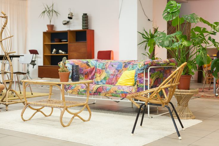 Eclectic mix - '80 Harvink couch, retro rattan chair
