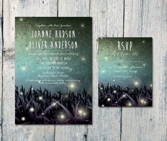Set of 100 - Fireflies in the Blue Night Wedding Invitation and Reply Card Set - Wedding Stationery - ID219