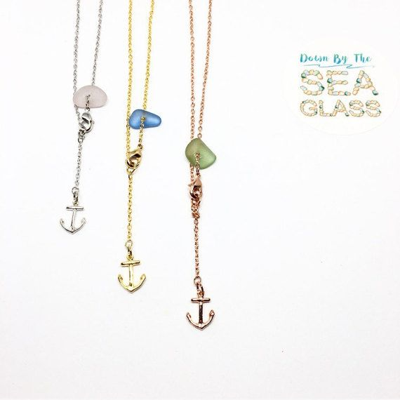 Genuine Rare Sea Glass Anklets in 16k plated by DownByTheSeaGlass