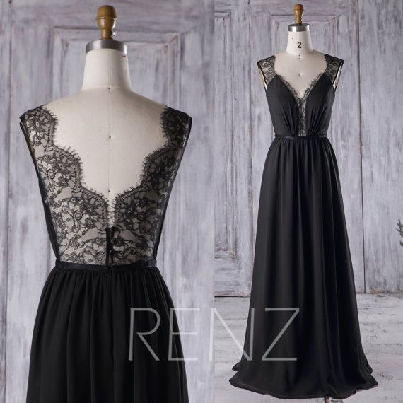 2017 Black Chiffon Bridesmaid Dress Long Lace Wedding von RenzRags