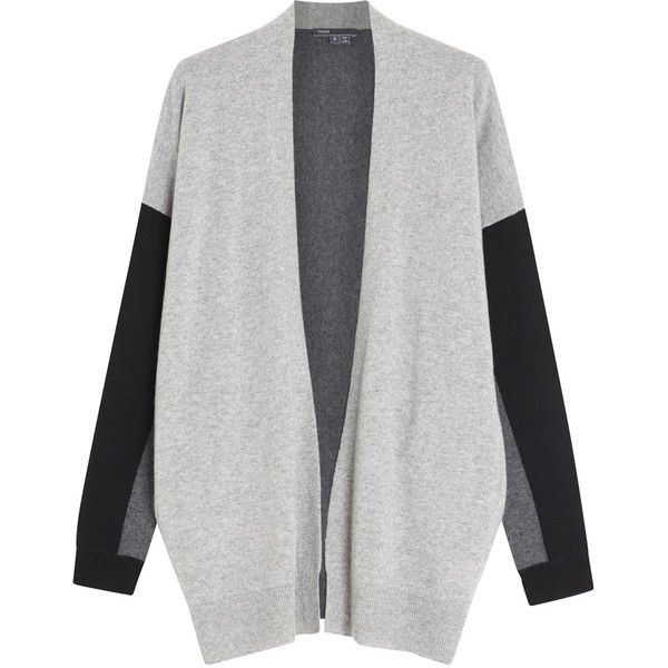 Vince Colour Block Cashmere Cardigan (8,815 INR) ❤ liked on Polyvore featuring tops, cardigans, jackets, cashmere open front cardigan, grey cashmere cardigan, drop-shoulder tops, grey open front cardigan and gray cardigans