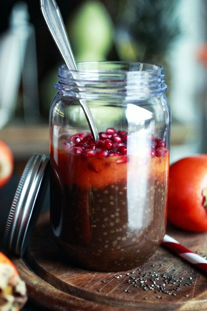 Banana and chia pudding with pomegranate
