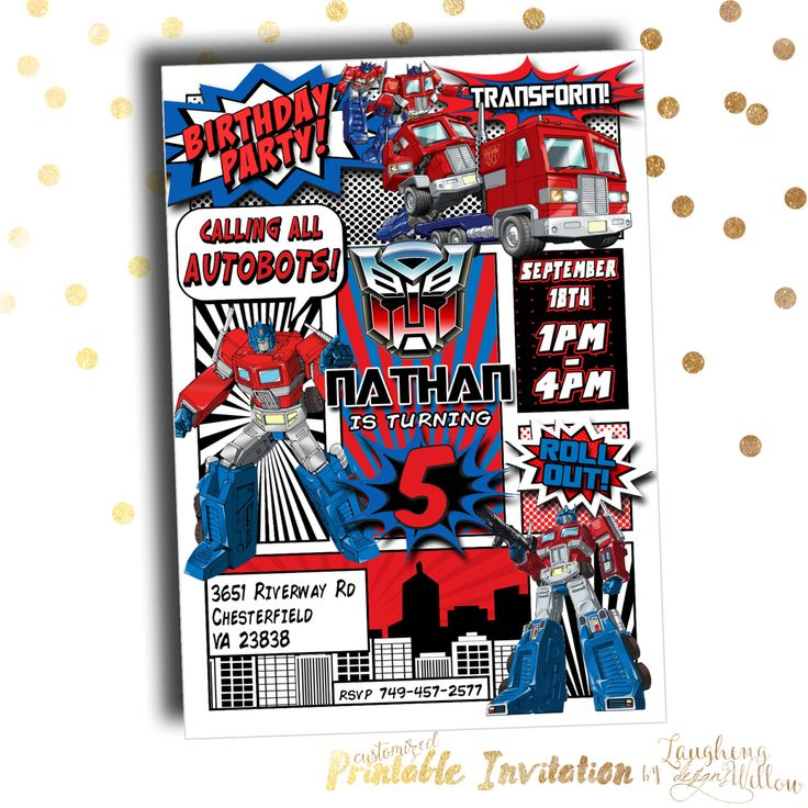 Optimus Prime Invitation Transformers por LaughingWillowDesign