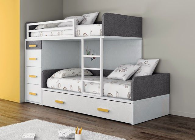 Amueblar un dormitorio para tres  Cuando tenemos que amueblar un dormitorio para tres niños las camas triples son la solución para la zon...
