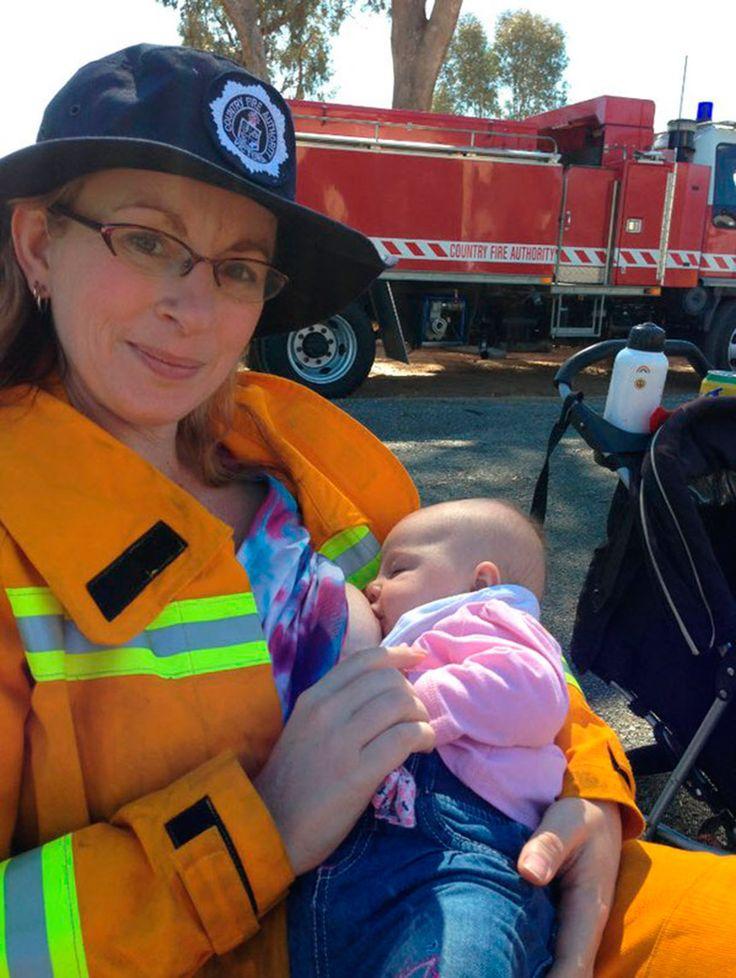 Организация Country Fire Authority похвалила женщину пожарного-волонтера за ее фотографию грудного вскармливания ребенка.  |  #пожарные  #ребенок  #новости  #спасение