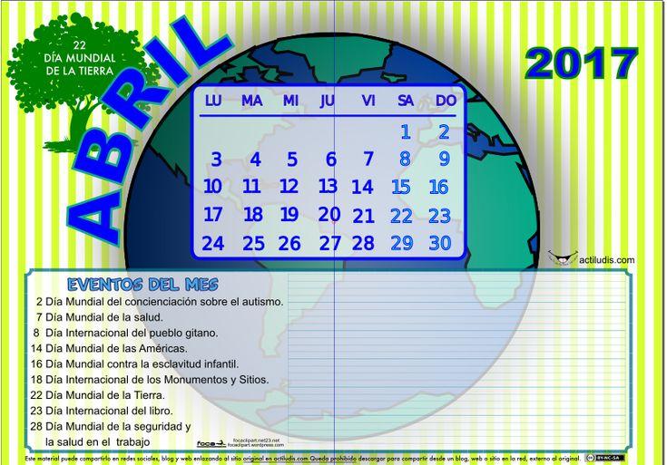 Calendario mes de abril 2017