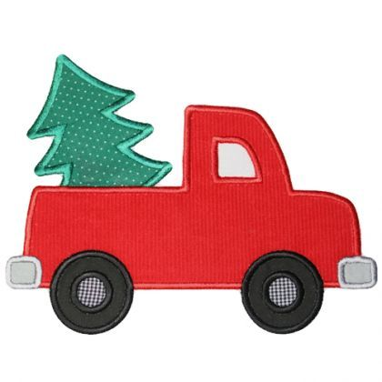 By Category :: Holidays & Special Occasions :: Christmas :: Christmas Tree Truck Applique - Embroidery Boutique