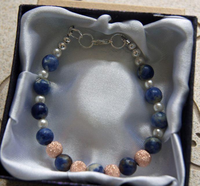 Sodalite  and Rose Crystal Pearl  Bracelet. Stone Bracelet- Women's Small. 14kg Gemstone Bracelet. Womens Bracelet by JewelleryInspired4U, $23.80 USD