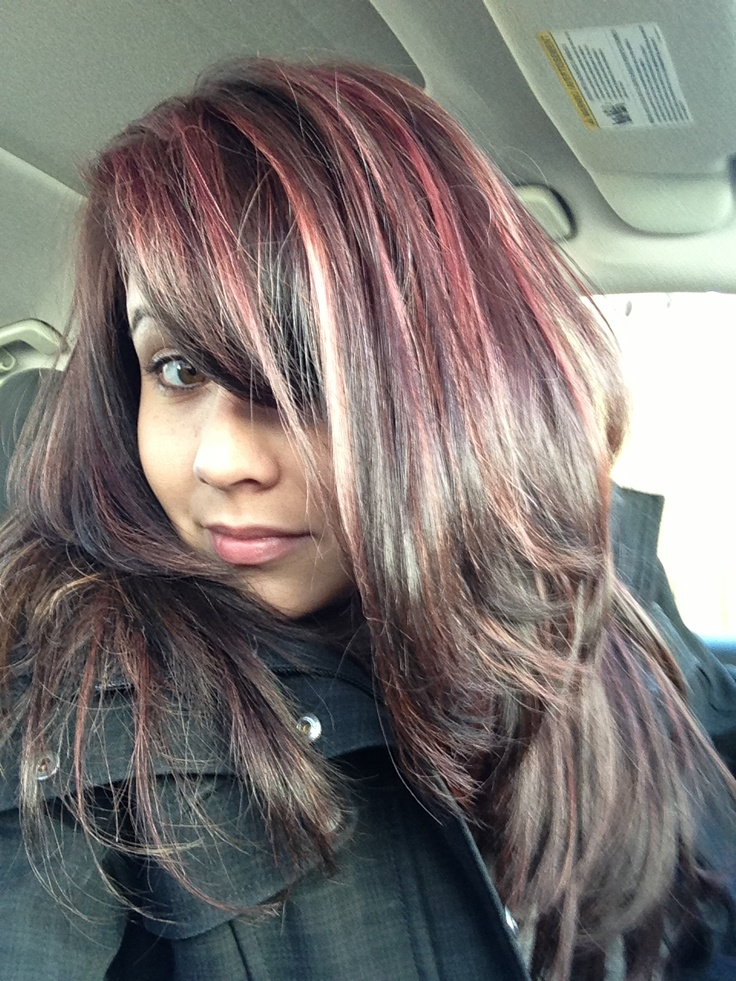 Violet/red highlights   Hair Styles   Pinterest