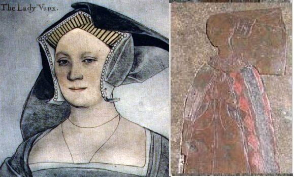 "image on left is not THAT ""Lady Elizabeth Cheney Tylney great grandmother of Anne Boleyn, Catherine Howard and Jane Seymour""  It's Elizabeth Cheney Vaux, Lady Vaux, 1st cousin of Queen Katherine Parr by blood, and by marriage--Holbein.  Image on right could well be that of the older Elizabeth."