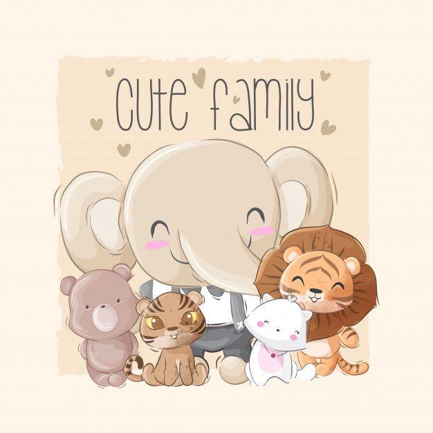 Familia Grande Animal Fofa Cute Animals Disney Background Cute Family