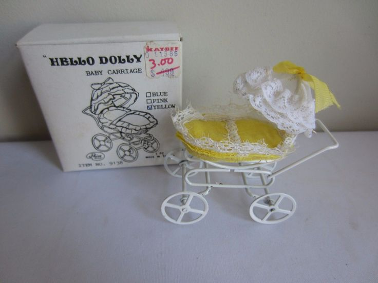 Vtg Hello Dolly Yellow & White Dollhouse Miniature Baby Carriage Price Import