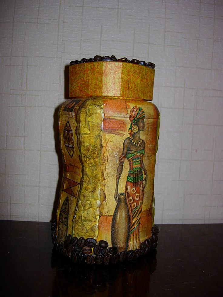 coffee jar, decoupage
