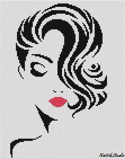 Chart Needlework Crafts DIY Counted Cross Stitch Pattern PDF Stylish girl #NattikStudio