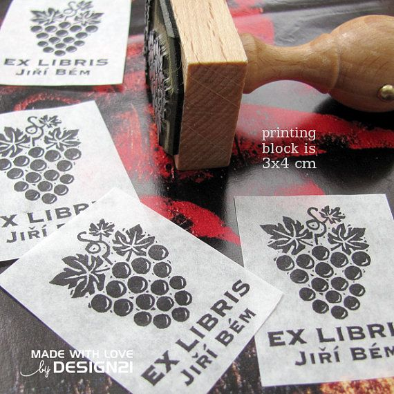 Grapes: personalised stamp 3x4 cm by lida21 on Etsy