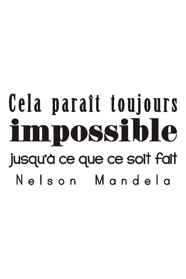 Vente STICKERS / 24345 / Lettrage / Citations en français / Sticker citation Nelson Mandela Noir