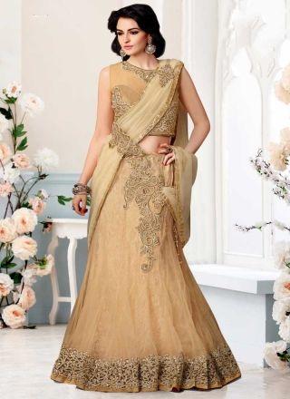 Marvelous Cream Zari Work Stone Work Net Wedding Lehenga Sarees #Wedding #Bridal #designer #Saree http://www.angelnx.com/Sarees