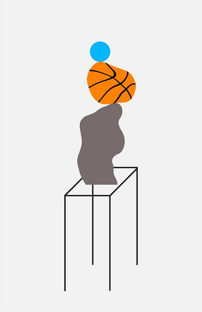 Ball on Basketball on Rock by Maxwell Holyoke Hirsch: Holyoke Hirsch Modern, Maxwell Holyoke, Maxwell Hirsch, Rock, Photo, Drawing, Hirsch Modern Art