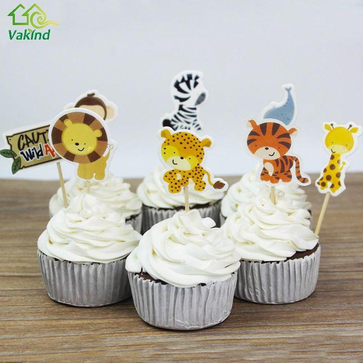 24 stks Jungle Safari Cupcake Picks Dier Cake Toppers Cartoon Cupcake Inserts Kaart Bruiloft Verjaardag Baby Kids Party Gunsten Gift in                                                                                                          V1N van Cake Decorating Supplies op AliExpress.com | Alibaba Groep