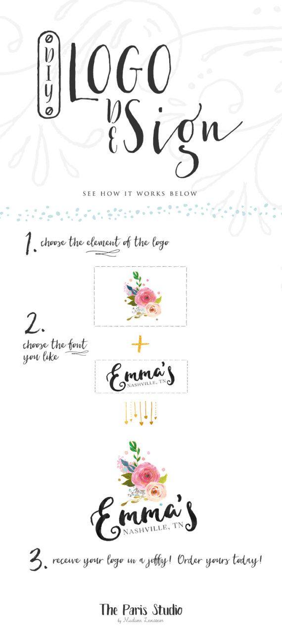 Watercolor Floral Antler Logo Design Deer Logo Custom Logo Design Event Wedding Photography Logo Website Branding Blog Logo Pay As You Go