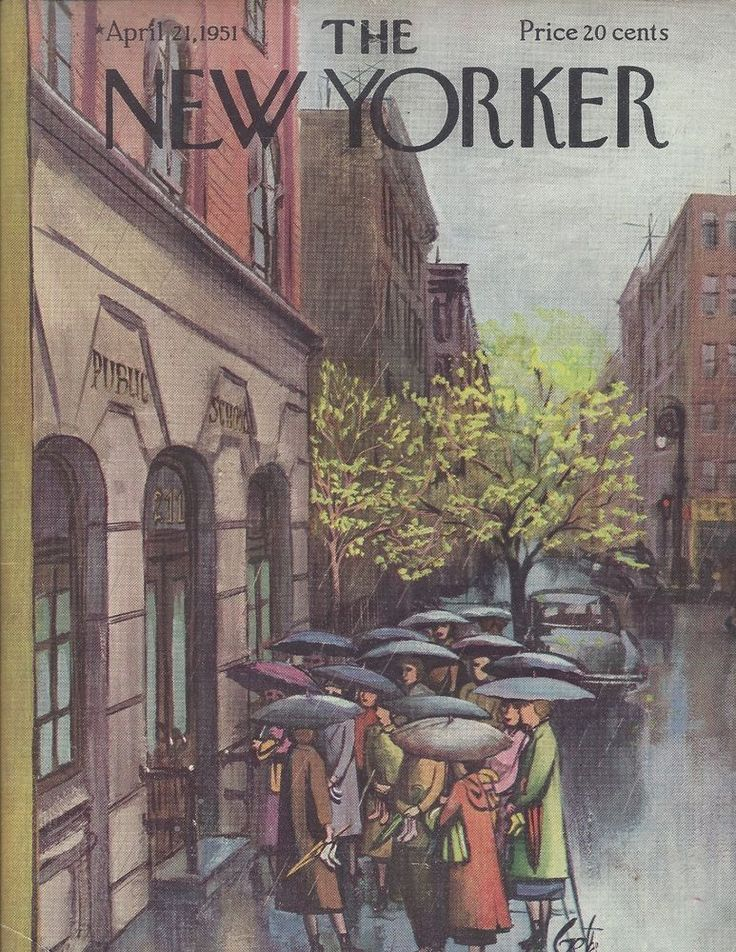 COVER ONLY The New Yorker magazine ~ GETZ ~ April 21, 1951 ~ Rain Day School