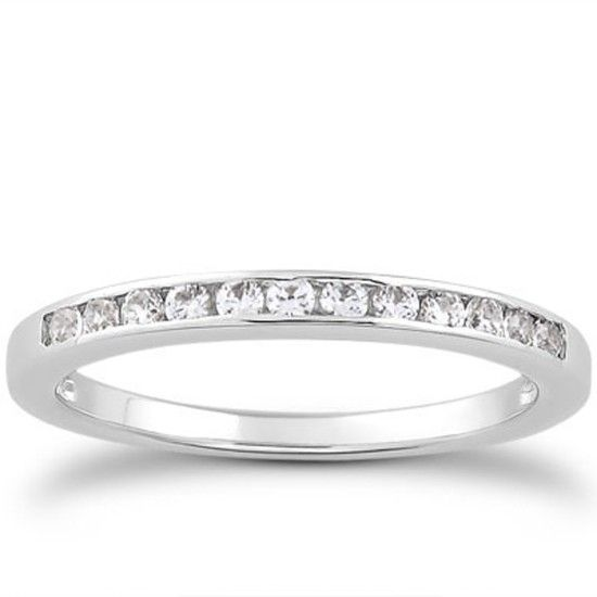 Alliansring 0.24 ct med Diamanter i 14K Vitguld