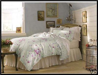 Shabby Chic Bramble Rose Duvet Set 3 Pcs Green Pink