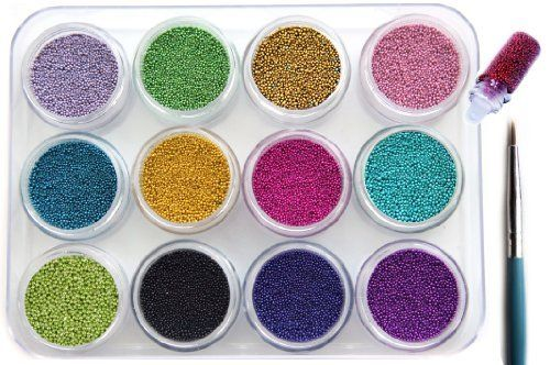 12 Colors 3D Mini Beads Balls For Amazing And Hot Caviar Nails With Extra Bonus by La Demoiselle. $16.29. Bonus 1: Nail Art Decoration in Mini Bottle. Random Color/Style. One per customer. Bonus 2: Detailer Brush x 1. One Per Customer.. Each color comes in the jar with a screw-on lid.. Bead size: 0.8 mm. Colors as pictured.. 12 Simmering Colors for creating beautiful nail designs. Each Jar Weight is 6-7g:::About 3/4 full::: This item is shipped from USA within 24 hours.