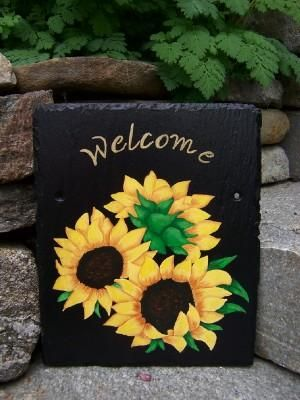 Slate Welcome Signs | Sunflowers welcome slates | Hand Painted Slates & House Plaques Signs ...