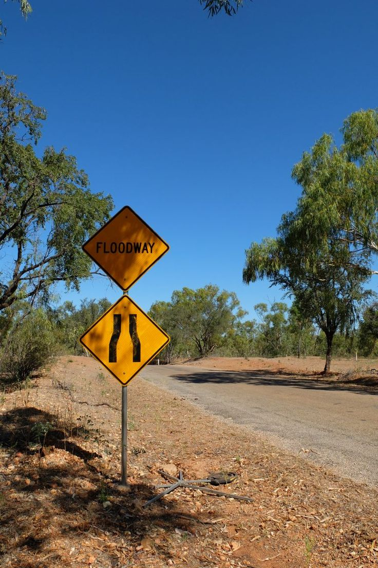 A floodway sign in the Australian Outback somewhere along the Savannah Way