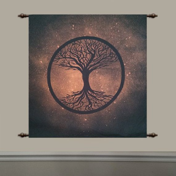 Tree of life tapestry hand painted by BleachOnBlack on Etsy, $45.00