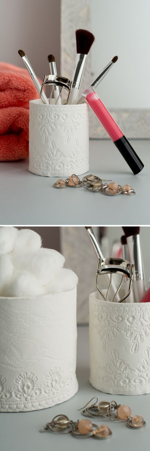 DIY: Lacey Clay Containers | How to mold clay around objects. Put bottom on first for more stability. Overlap side edges.