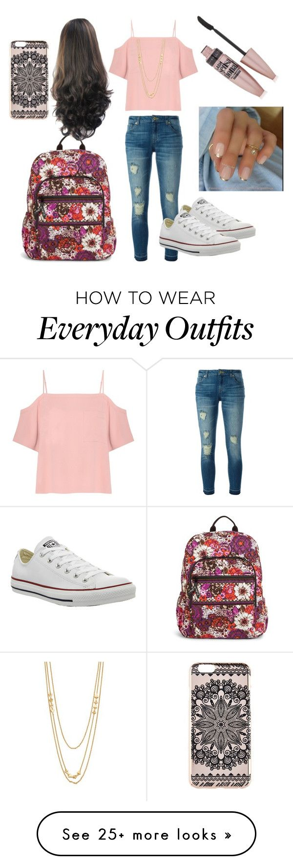 """Everyday school outfit"" by lilymahoney on Polyvore featuring MICHAEL Michael Kors, Converse, T By Alexander Wang, Gorjana, Vera Bradley, Maybelline and New Look"