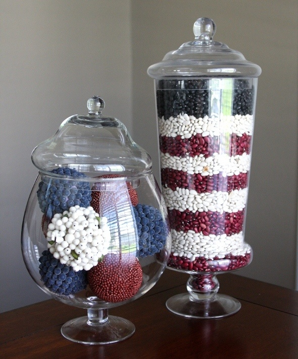 The concept of a jar full of beans as a decoration is somewhat odd, but I love the color scheme :)