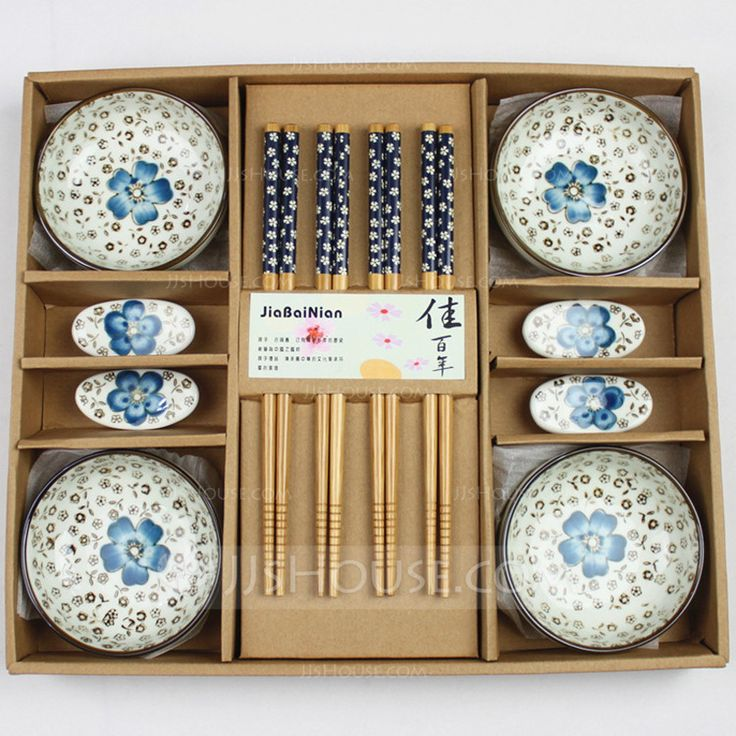 Asian Theme Spring Fall Summer Winter Cutlery set Ceramic Bamboo Green Blue Red Purple Wedding Anniversary Birthday Party Engagement Party Pretty Sakura Design Gift Box Practical Favors