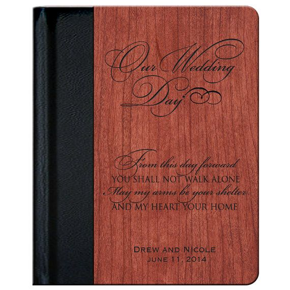 "Personalized Rosewood  Wedding Photo Album"" Our Wedding Day ""  for Bride and Groom or Anniversary Couple  Photo Album holds 100 4x6 photos"
