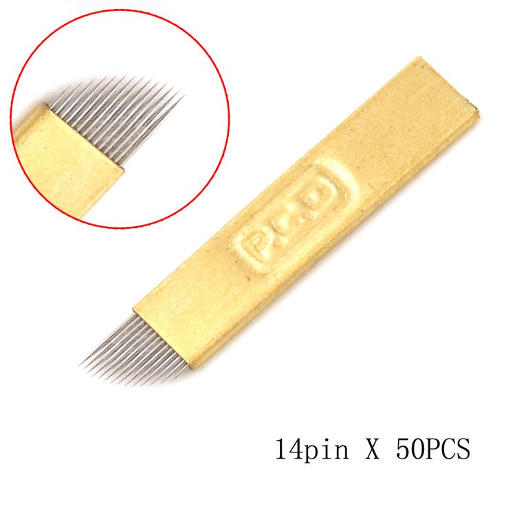 50pcs golden 316 stainless steel disposable embroidery eyebrow tattoo blade 14 pin microblade for permanent makeup manual pen