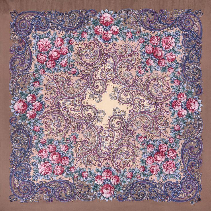 Павлопосадские платки : Секрет успеха 1635-16, павлопосадский платок шерстяной с шелковой бахромой