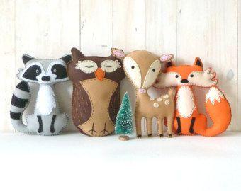 Woodland Stuffed Animal PATTERNS, Hand Sewing Felt Fox Owl Deer Raccoon Plushie Patterns, Deer Fox Owl Raccoon Softie Patterns
