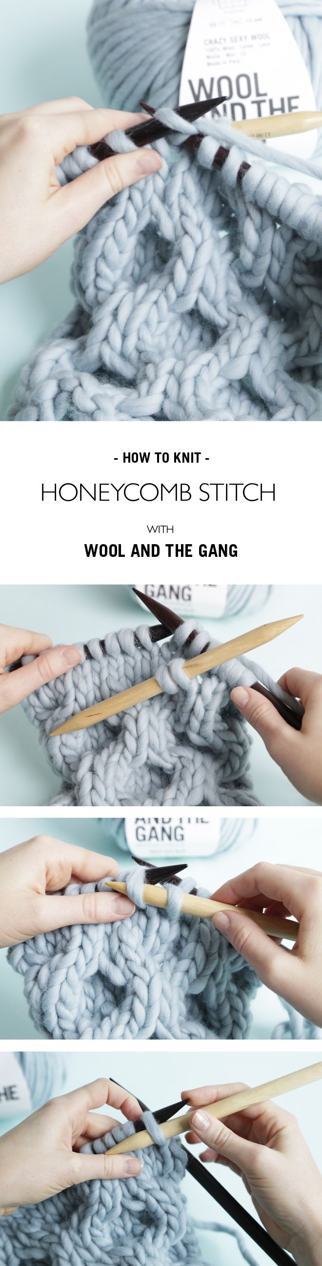 HOW TO KNIT HONEYCOMB STITCH | @woolandthegang