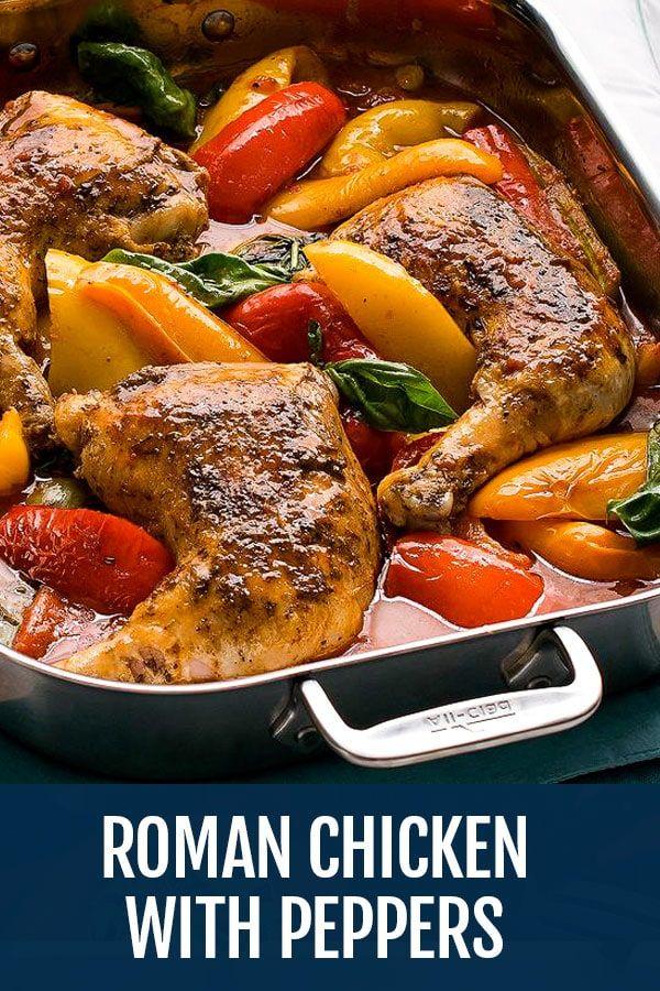 Roman Style Chicken Recipe Pollo Alla Romana Con Peperoni Recipe Chicken Leg Quarter Recipes Chicken Recipes Recipes