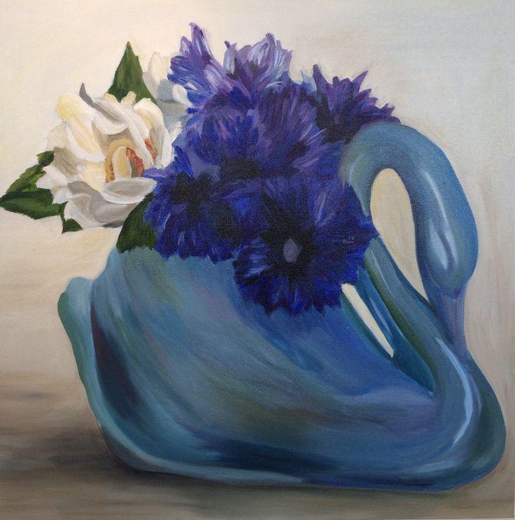 Emma Targett - painting - swan - vase - floral - blue - acrylic on canvas - 50 x 50cm - www.emmatargett.com