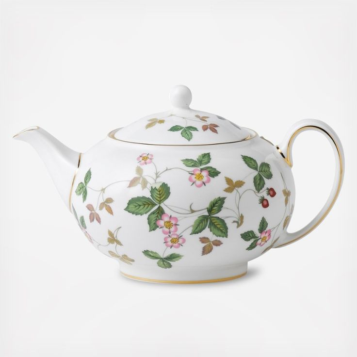 A teapot for a spring or summer's day -- Wedgwood Wild Strawberry Teapot. Wedgwood celebrates the 50th Anniversary of the iconic Wild Strawberry pattern with an updated design. English bone china tea pot.