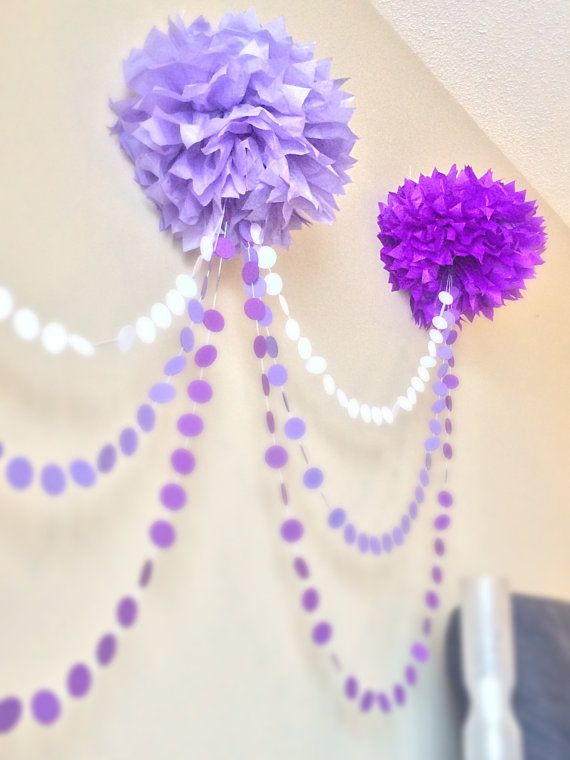 SALE Ombre Pom Pom Garland By JuliesElegantCrafts On Etsy · Pink And Gold  DecorationsDiy Baby Shower DecorationsParty Decoration IdeasParty  IdeasParties ...