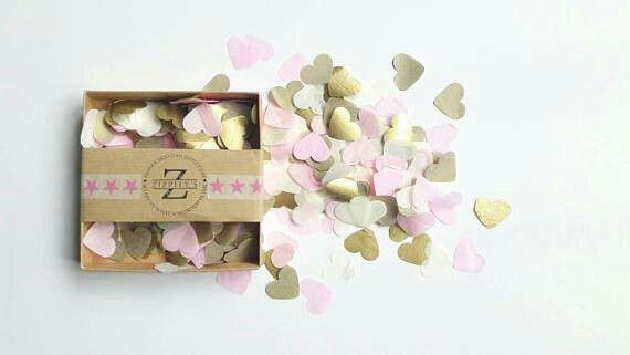 Zippitys Gold Pink and Cream  Heart Confetti www.etsy.com/shop/zippitys