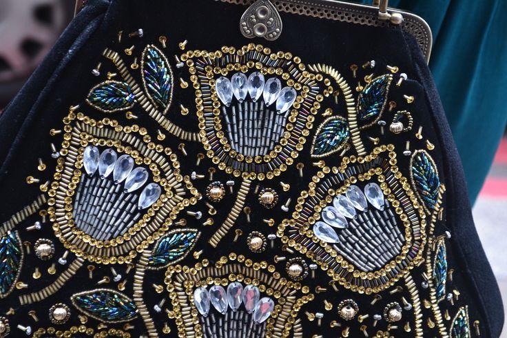 Floral Florentine- captured detail from a embroidered vintage handbag