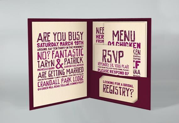 Examples of Unique Wedding Invitations | 21st - Bridal World - Wedding Lists and Trends