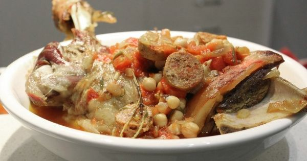 Slow Braised Shoulder of Lamb with Chorizo, Chickpeas and Tomatoes