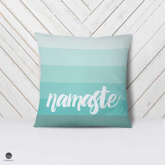 Meditation Pillow Cushion,Namaste Decor, Yoga Studio Decor, Meditation Room Decor, Relax Pillow, Yoga Pillow Covers, Mint ombre pillow, Gift